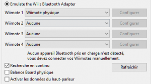 Menu Dolphin wiimote physique